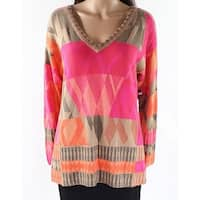 Nic + Zoe Pink Womens Size Large L Colorblock V-Neck Sweater