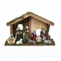 "9 Pieces Subtle Colored Vintage Inspired Nativity Figurine Set with Stable 3.15"" - brown"