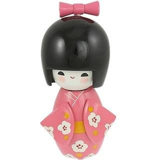 Wooden Bowtie Decor Smiling Girl Pink Kimono Japanese Kokeshi Doll Toy