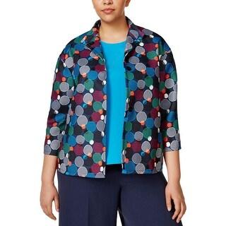 Anne Klein Womens Plus Casual Blazer Printed Long Sleeves