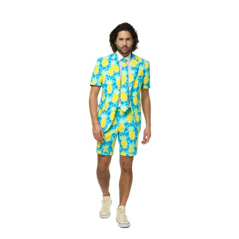 Blue and Yellow Summer Shineapple Pineapple Men Adult Suit - Large