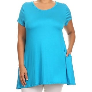 Women Plus Size Short Sleeve Solid Pocket Asymmetric Tunic Knit Top Tee Shirt Turquoise
