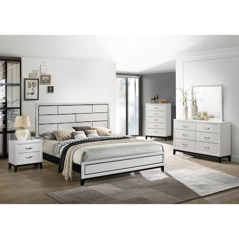 Stout Contemporary Panel Bedroom Set in White Finish with Panel Bed, Dresser, Mirror, Night Stand, Chest
