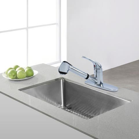 WMF-8348ZM - Hybrid Metal Deck Kitchen Sink Faucet Single Handle, Ceramic Cart. with Pull Out Sprayer Chrome or Brushed Nickel