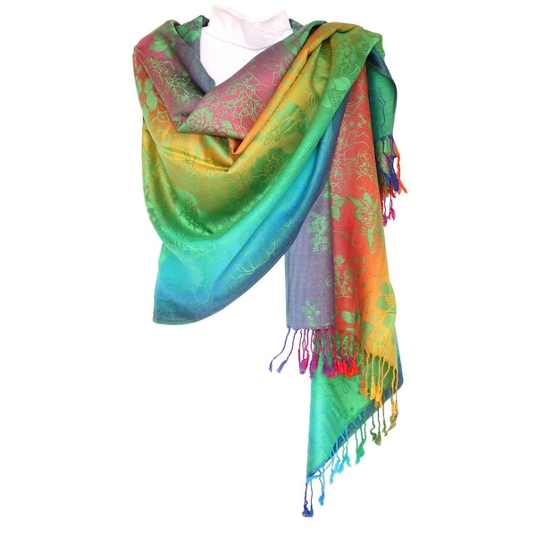 "Pashmina Wrap Shawl Scarf Double Side Rainbow Silky Exotic Tropical Colorful - 28""x70"" with fringes"