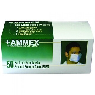 AMMEX ELFM Ear Loop Face Masks (Box of 50 masks)