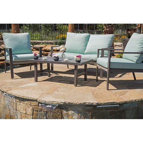 Lone Star 4-Piece Outdoor Patio Seating Set by Gardennaire - 2x Club Chairs, Loveseat & Coffee Table