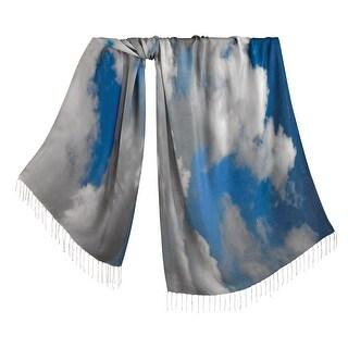 "Women's Clouds Fashion Scarf - Silk & Viscose Realistic Print Fringed Ends 28"" x 72"" - Medium"