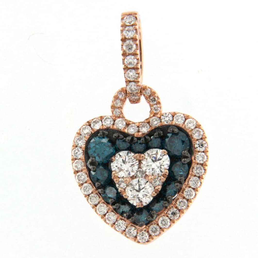 Prism Jewel 0.77Ct Blue Color Diamond & Side Diamond Valentine Heart Shaped Pendant, 10k Rose Gold - Thumbnail 0