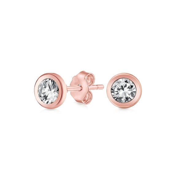 47db3265623 Shop Delicate Bezel-Set Round Colorless Cubic Zirconia Tiny Stud Earrings  For Women For Girlfriend CZ Real 14k Rose Gold 5mm - On Sale - Free Shipping  On ...