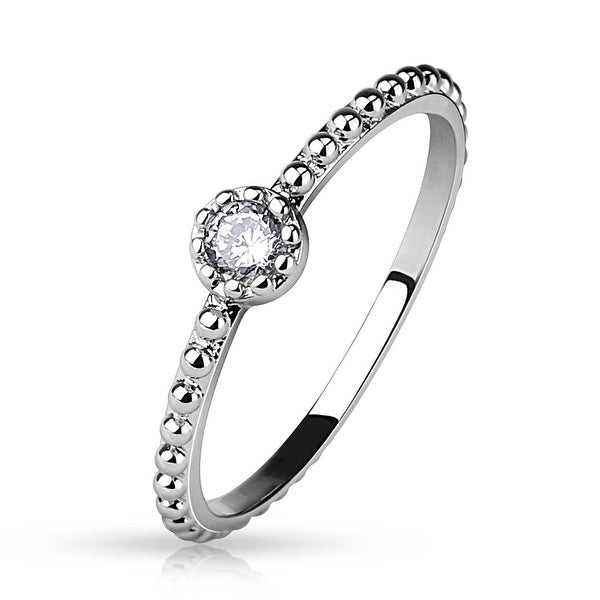 Round CZ Beaded Ring/Mid Ring (Sold Ind.)