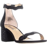 I35 Hadwin2 Block Heel Ankle Strap Sandals, Black Bling