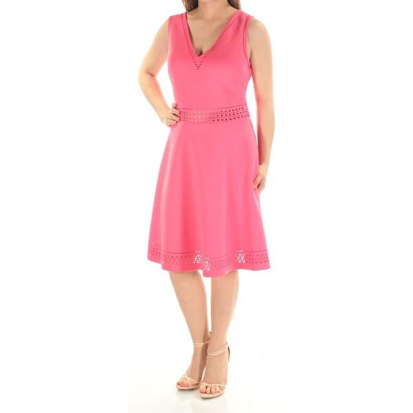 Shop Guess Womens Pink Eyelet Sleeveless V Neck Knee