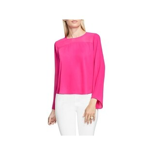 Vince Camuto Womens Pullover Top Chiffon Mesh Inset