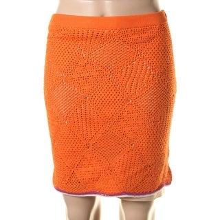 Catherine Malandrino Womens Crochet Knee-Length Pencil Skirt - S