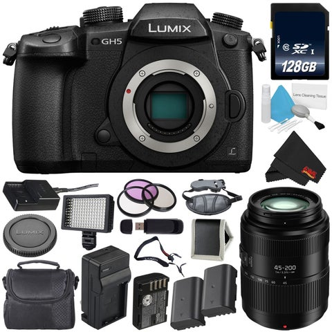 Panasonic Lumix DC-GH5 Mirrorless Micro Four Thirds Digital Camera (Body Only) + Panasonic Lumix G Vario 45-200mm Lens Bundle