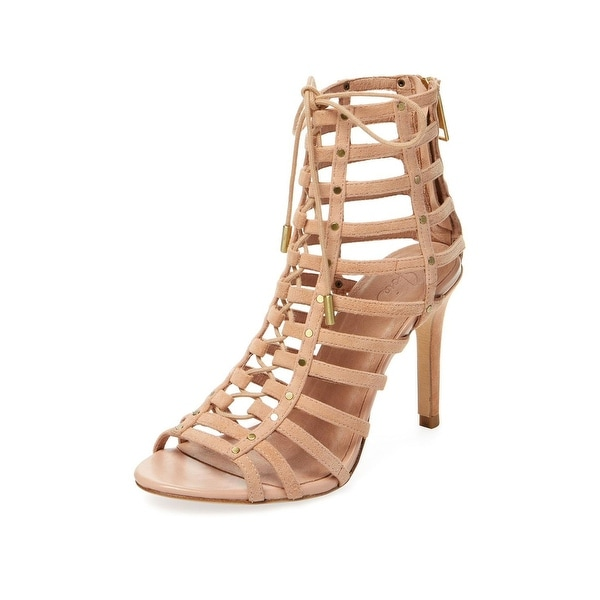 Joie Rhoda Caged Lace Up High Heel Sandals Clay - 9.5 b(m)
