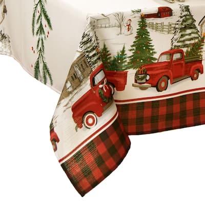 Vintage Christmas Tree Farm Holiday Tablecloth