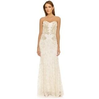Marchesa Notte Metallic Threadwork Lace Strapless Evening Gown Dress - 0