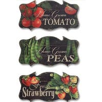 Pack of 6 Decorative Fruit and Vegetable Garden Wall Plaque - Green