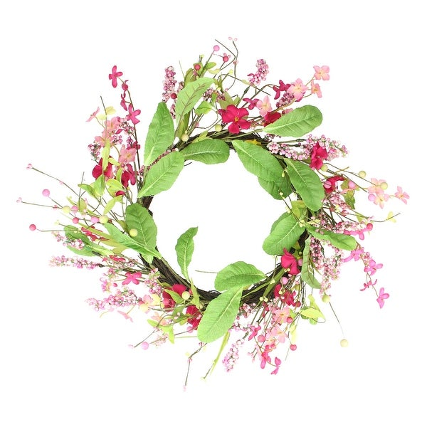 Geranium and Berry Artificial Spring Floral Wreath, Pink and Green 18-Inch - N/A