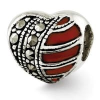 Sterling Silver Reflections Marcasite & Enameled Heart Bead (4mm Diameter Hole)