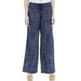 Max Studio London Cotton Frayed Wide Leg Pants Indigo