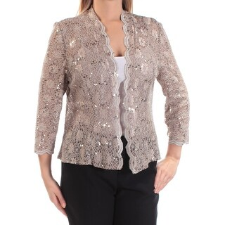 ALEX EVENINGS Womens New 1021 Beige Lace Sequined 3/4 Sleeve Top 14 B+B