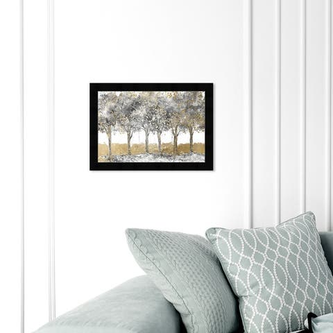 Oliver Gal 'Everything Blessed Forest' Nature and Landscape Wall Art Framed Print Forest Landscapes - Gold, Gray