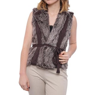 XOXO Sweater-Trim Faux-Fur Vest Vest Gray