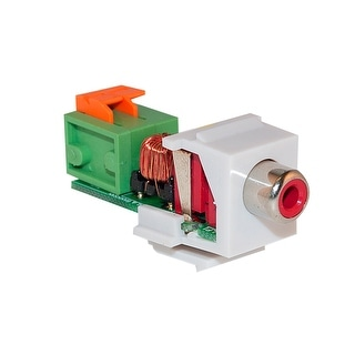 Offex Keystone Insert, White, RCA Female to Balun Over Cat5e (Red RCA), Working Distance 350 foot