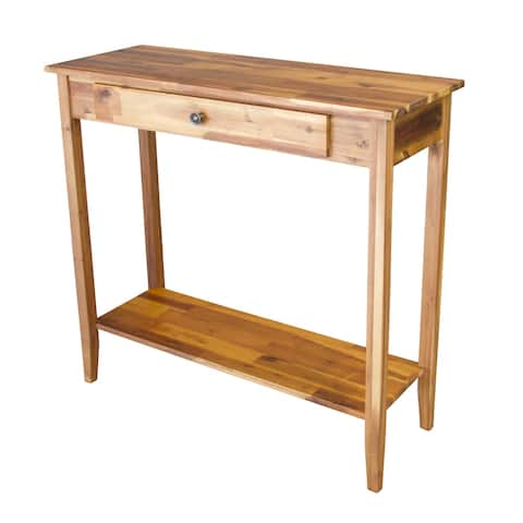 Solid Acacia Console Table with Drawer & Bottom Shelf