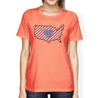 USA Map American Flag Womens Peach Cute T-Shirt Gift For Navy Wives