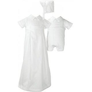 Baby Boys White Satin Cotton Convertible Skirt Hat Romper Christening Set