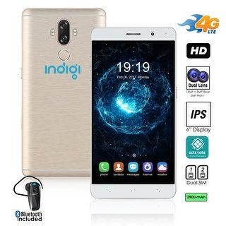 "Indigi 2017 GSM UNLOCKED 4G LTE 6"" ANDROID 7 SmartPhone [2SIM + QUAD-CORE + Fingerprint Scanner (Gold) + Btooth Headset"