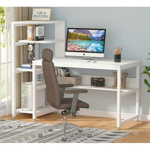 Tribesigns Industrial 58 Inch Computer Desk with bookshelf,Writing Desk