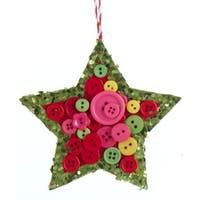"4"" Bohemian Holiday Yellow, Pink and Green Glittered Star with Buttons Christmas Ornament"