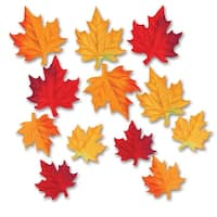 Club Pack of 288 Red and Yellow Fabric Autumn Leaf Silhouette Cutout Decoration