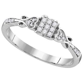 1/6Ctw Diamond Fashion Ring Rhodium-Plated-Silver 925