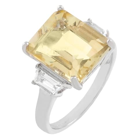 3-Stone Emerald-Cut Yellow Sunstone Engagement Ring, Sterling Silver