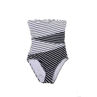 Anne Cole Black White Contrast-Striped Bandeau One-Piece Swimsuit 10