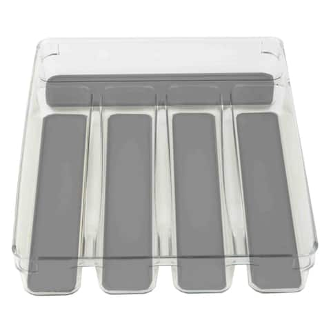 Home Basics Plastic Cutlery Tray with Soft-Grip Interior, Clear-Gray, 9x12x2 Inches