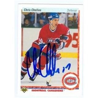 Chris Chelios Autographed Hockey Card 1990 Upper Deck No .174