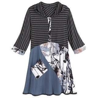 Catalog Classics Hooded Mixed Prints Tunic Top Henley 4-Button Front 3/4 Sleeves (More options available)