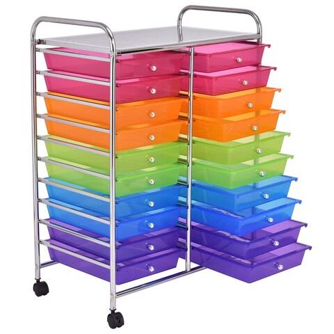 Gymax Office Rolling Cart 20 Storage Drawers Scrapbook Paper Studio Organizer Mutli Color
