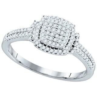 1/3Ctw Diamond Micro-Pave Bridal Engagement Ring 10K White-Gold