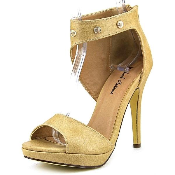 Michael Antonio Rach Women  Open-Toe Synthetic Tan Heels
