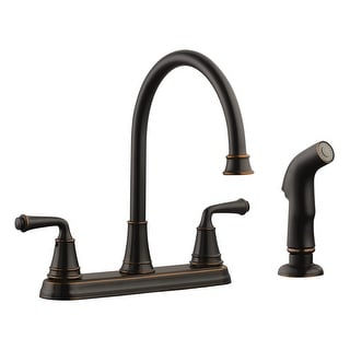 Design House 524736  Eden Double Handle Kitchen Faucet with Metal Lever Handles and Sidespray - Oil Rubbed Bronze