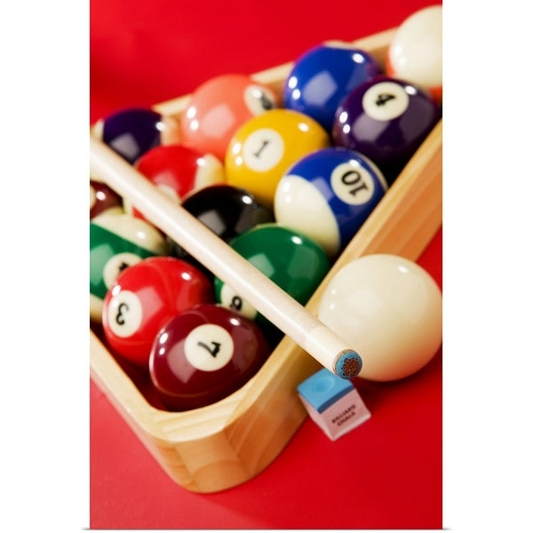 """""""Racked pool balls and stick"""" Poster Print"""