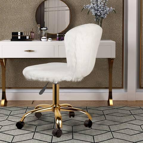 White Fake Makeup/Vanity Chair Golden Leg - Mid-Back Dressing Chair - Adjustable and Swivel Desk Chair